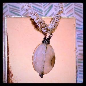 Hemp rope with stone pendant necklace